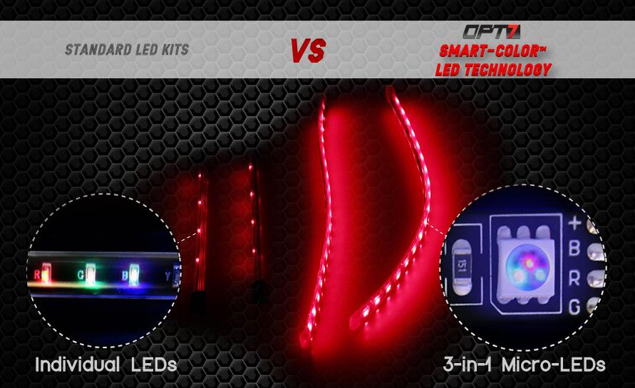 Opt7 aura led interior light kit 12 inch smart strips - Automotive interior led light strips ...